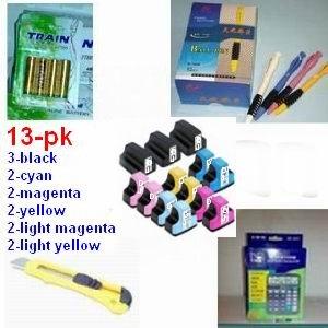 A great deal HP 02xl hp02xl hp02 xl Remanufactured Bulk Set of 13 Ink Cartridges: 3 Black + 2 Cyan, Magenta, Yellow, Light Cyan, Light Magenta +(1) 12 digit calculator + 5 ball pen + (1) cutter, snap off, + 4-pk AA batteries, great Value........!!!!...