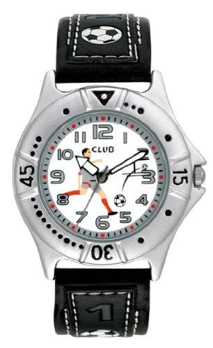 Club Boys Football Watch - White Dial with Black Leather Band - A56506S3A