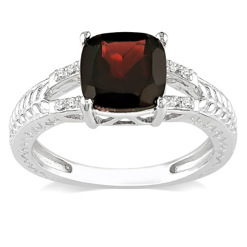 Sterling Silver Garnet and Diamond Ring (.04 cttw), Size 6