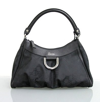 Gucci Original Womens Black Medium Hobo With D Ring Detail Made In Italy