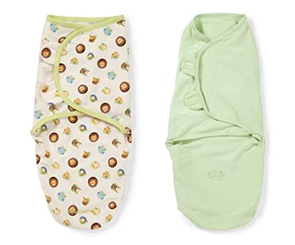 Summer Infant 2 Pack Cotton Knit Swaddleme, Safari (Small/Medium)