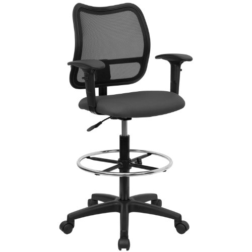 Flash Furniture WL-A277-GY-AD-GG Mid-Back Mesh Drafting Stool with Gray Fabric Seat/Arms