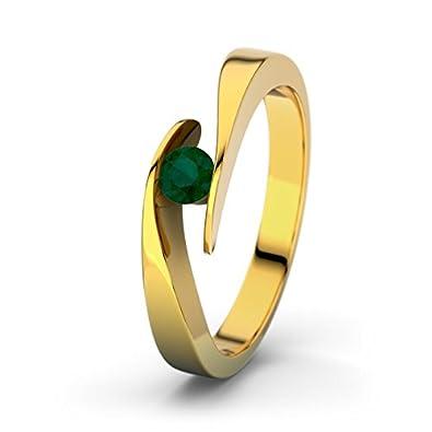 Summertime 21DIAMONDS Women's Ring Emerald Cut Engagement Ring, 18K Yellow Gold Diamond Engagement Ring