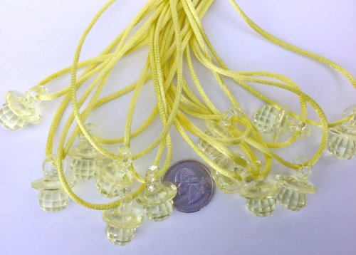 "24 Pcs 1"" Mini Yellow Fancy Plastic Pacifier Necklaces ""Don'T Say Baby!"" For Baby Shower Party Game/ Favors front-438335"