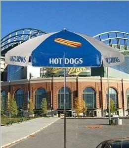 Hot Dog Concession Vendor Cart Umbrella - Blue & White (Hot Dog Cart Umbrella compare prices)