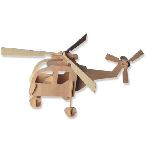3-D Wooden Puzzle - Small Helicopter -Affordable Gift for your Little One! Item #DCHI-WPZ-P001