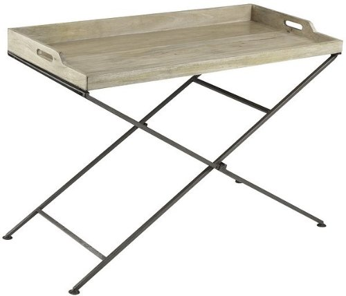 Image of Console Table with Natural Rustic Wood Top Metal Base (VF_CP-6155)
