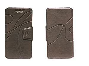 J Cover Oscar Series Leather Pouch Flip Case With Silicon Holder For Huawei Ascend P1 Dark Brown