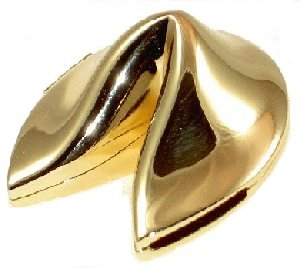 Gold Plated Fortune Cookie Box with Hinge on Side- Party Decoration or Wedding Favor