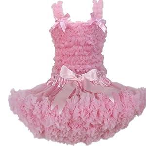 Buenos Ninos Pettiskirt Set Pure Lace Petticoat Pettitop Baby Girl's Tutu Skirt,Pink Size 5-6T