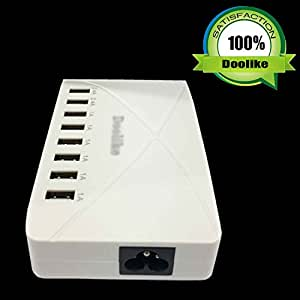 Doolike New Ceramic White 8 Port USB Hub Charging Station with total of 5V/ 10A Power Adapter