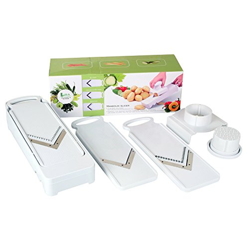 LisaKitchen 3 Stainless Steel Blades Mandoline Slicer for Vegetable, Fruit & Cheese (Fruit And Vegetable Slicer compare prices)