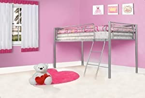 Kids Metal Bunk Bed Mid Sleeper Cabin Silver Single Bed Frame 3ft New