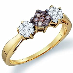 Brown Chocolate Diamond Ring Three Stone Cluster Yellow Gold (1/4 ct.tw.), size 5