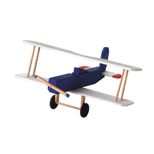Unfinished Biplane Wood Craft Kit (Unfinished When Fully Assembled)