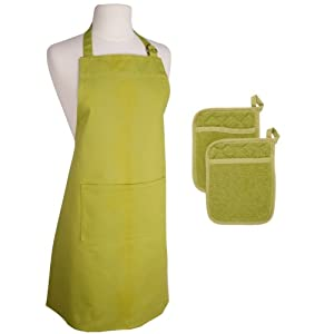 Now Designs Apron and Terrycloth Pocket Potholders Set of 3, Cactus