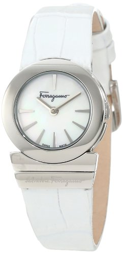 Ferragamo Women's F70SBQ9991 SB01 Gancino Mother-of-Pearl Dial Sapphire Crystal White Leather Watch