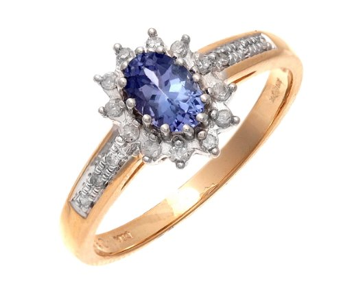 9ct Yellow Gold Tanzanite and Diamond Cluster Ring With Diamond Shoulders - Size J