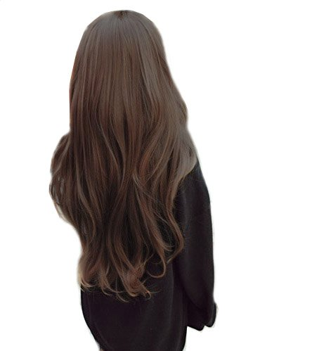 Fashion Beautiful Long Hair Curly Wave Full Wigs – Dark brown