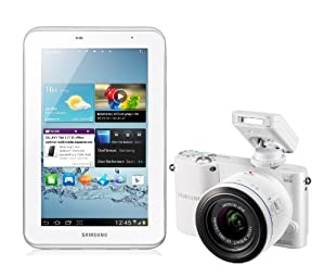 Samsung NX1000 Digital Compact System Camera - White (20.3MP, 20-50mm Lens Kit) and Samsung 7.0 Galaxy Tab 2 - White (8GB, Wi-Fi, Android 4.0) Bundle Kit