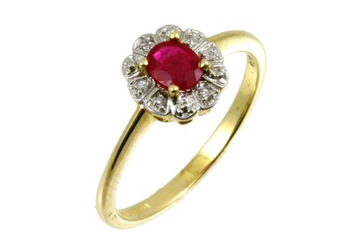9ct Yellow Gold Diamond and Ruby Cluster Ladies' Ring Size U