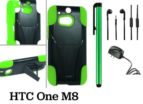 Htc One (M8) Premium Pretty T-Stand Design Protector Hard Cover Case (2014 Q1 Released; Carrier: Verizon, At&T, T-Mobile, Sprint) + Travel (Wall) Charger + 3.5Mm Stereo Earphones + 1 Of New Assorted Color Metal Stylus Touch Screen Pen (Green / Black)