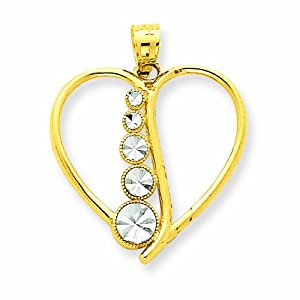 14K Two-tone Diamond-cut Cascading Circles Heart Pendant