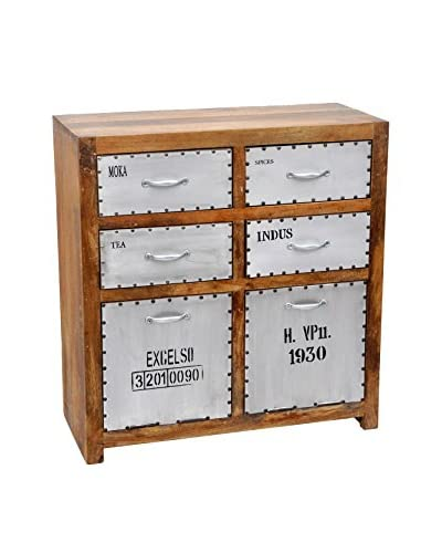 Brooklyn Apothecary Cabinet, Brown/Silver/Black