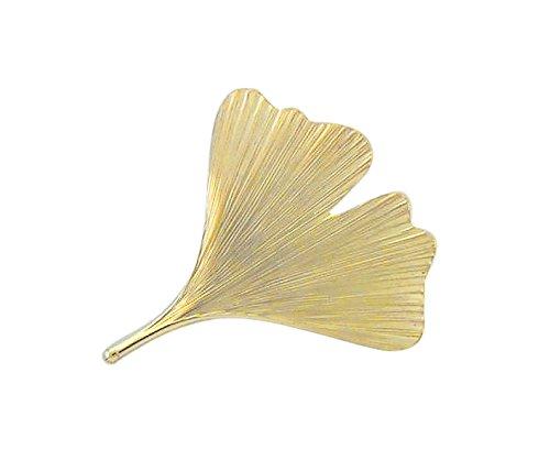 Damen Schmuck Gold Brosche Ginkoblatt aus 375 Gelb Gold ( 36,4 x 32,4 mm ) schenken