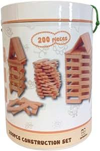 Gueydon Jouets - 800474 - Jeu de Construction - Baril Construction - 200 planchettes en bois