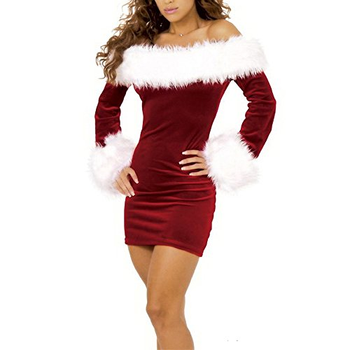 EA Selection Women Lingerie Christmas Costumes Dress Fur Collar Holiday Uniform