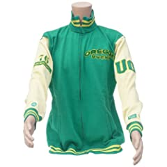 NCAA Oregon Ducks Mens Varsity LetterMens Jacket, Green Yellow by Donegal Bay