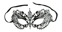 Laser Cut Metal Venetian Pretty Masquerade Mask w/ Clear Rhinestones by Crystal Case