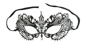 Laser Cut Metal Venetian Pretty Masquerade Mask w/ Clear Rhinestones by Crystal Case