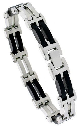 Stainless Steel Solid Link & Rubber Bracelet 1/2 inch wide, 8 inch long