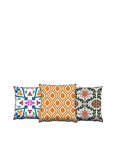 Gravel Set of 3 Tile Printed Throw Pillows, Multi