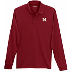 Nebraska Cornhuskers Solid Red Performance Long Sleeve Polo by Vansport