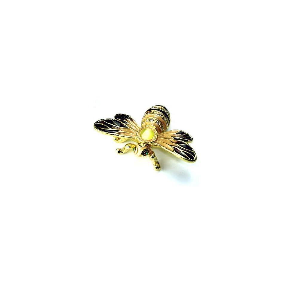 Bee on Sunflower Crystal Studded Pewter Jewelry Trinket Box