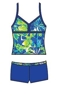Speedo 7142321 Girls Tie Dye Blaze Boyshort 2-Piece, Blue, 12