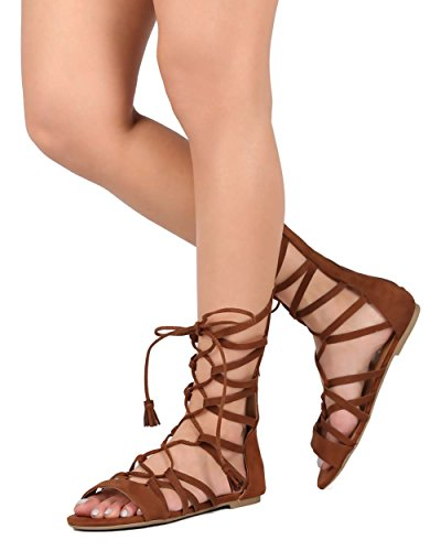 Soda EE48 Women Suede Calf High Open Toe Gilly Tie Tassel Gladiator Sandal - Cognac (Size: 9.0) (Gladiator Sandals Soda compare prices)