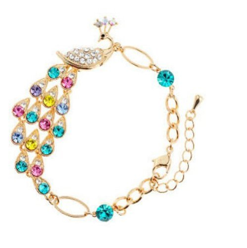 Rolicia Austrian Crystal Made with Swarovski Elements Color full drill peacock Bracelet For Women