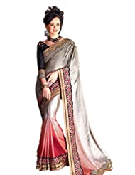 AG Lifestyle Grey & Orange Satin Chiffon Saree With Unstitched Blouse ASL803