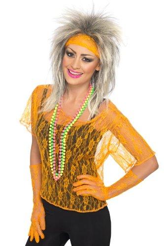 Smiffy's Lace Net Vest Neon, Orange, One