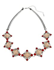 Diamanté Encrusted Square Collar Necklace