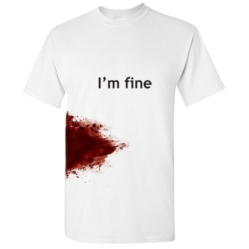 I'M FINE Funny Zombie Slash Movie Gag Gift Injury Blood T Shirt L White (School Is Cool Shirt compare prices)