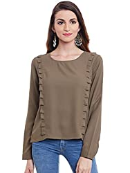 Purys Solid Olive Green Ruffle Top - X-Large