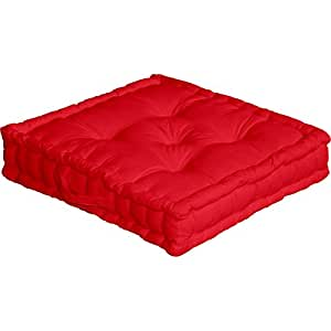 Floor Cushion with Handle 50 x 50 x 10 cm Cotton, red, 50x50: Amazon.co.uk: Kitchen & Home