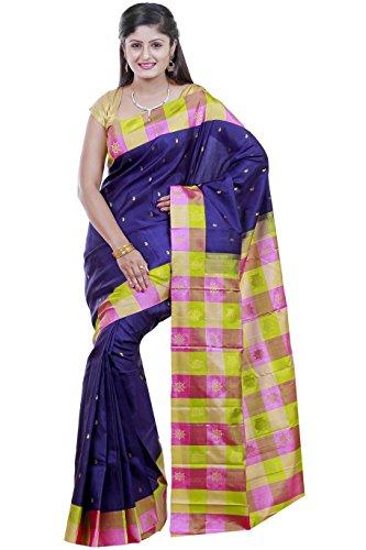 Kanchipuram Handloom silk sarees Double side contrast border with checks Putta and Body Putta