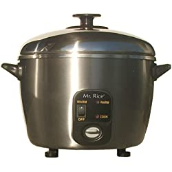 SPT 6-Cup Stainless Steel Rice Cooker/Steamer