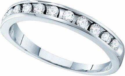 Ladies 14k White Gold .10 Ct Round Cut Diamond Wedding Engagement Band Ring